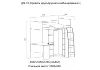 """""""Вега"""" ДМ-15 Кровать двухъярусная (комбинированная) (Без матраца 0,9*2,0)"""