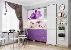 Кухонный гарнитур «Фрукты» (КРОКУСЫ МДФ), 1,8 м Белый/Фиолетовый металлик