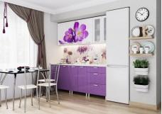 Кухонный гарнитур «Фрукты» (КРОКУСЫ МДФ), 2,0 м Белый/Фиолетовый металлик