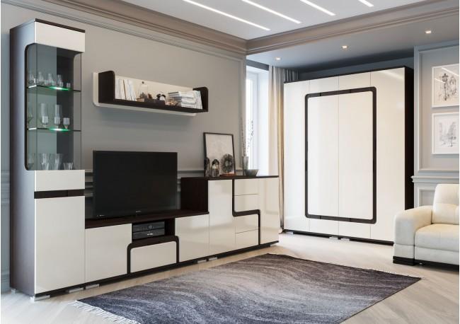 «Н 25»  (Шкаф комбинированный) Дуб Венге/Жемчуг