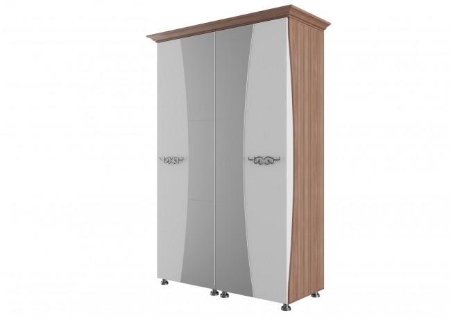 «Лагуна 7» Шкаф для платья и белья Четырехстворчатый (1,8м)  Ясень шимо темный/МДФ «Жемчуг»