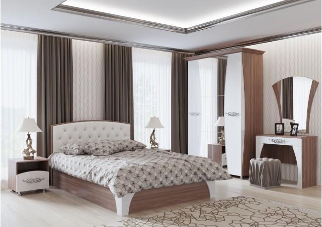 «Лагуна 7» Кровать двойная (универсальная 1,6*2,0м) с пуговицами Ясень шимо темный/МДФ «Жемчуг»