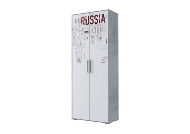 Шкаф двухстворчатый комбинированный Цемент светлый/Белый