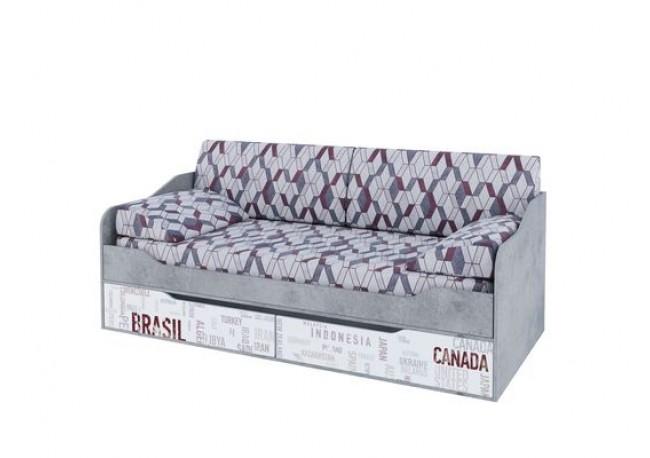 Кровать-диван с ящиками (0,9*2,0) Цемент светлый/Белый