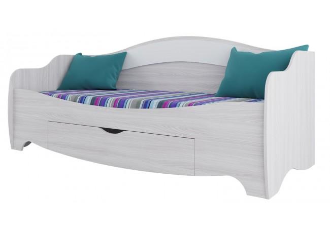Кровать одинарная (с одним ящиком) Ясень анкор светлый/ белая матовая