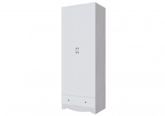 Шкаф двухстворчатый с одним ящиком Ясень анкор светлый/белая матовая