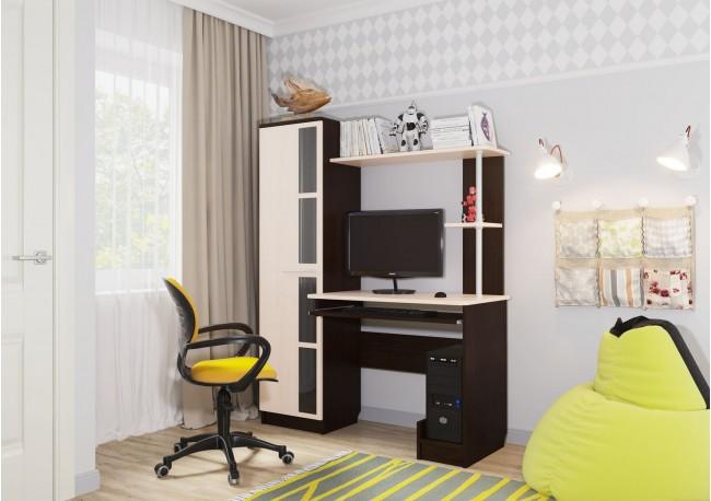 Стол компьютерный №1 Дуб Венге/Дуб Млечный