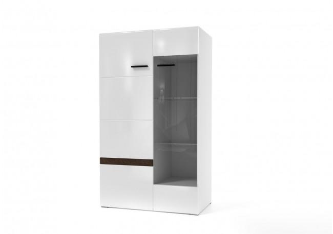 Модульная система «Соло» Шкаф-витрина Белый / Белый глянец-Венге