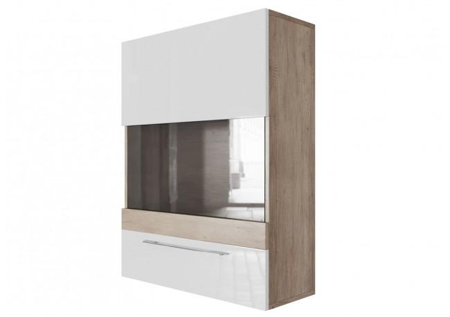 Шкаф навесной (горизонтальный 700) (Каньон светлый/Белый глянец)
