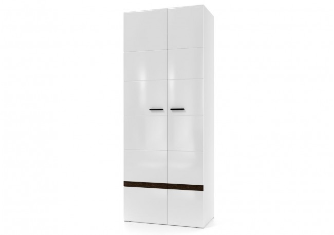 Шкаф двухстворчатый универсальный Белый / Белый глянец-Венге