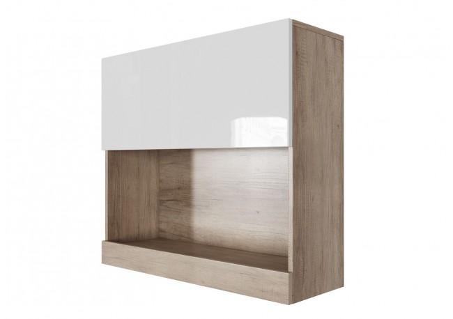 Шкаф навесной (горизонтальный 800) (Каньон светлый/Белый глянец)