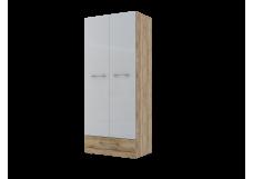 Шкаф двухстворчатый комбинированный (420) (Каньон светлый/Белый глянец)