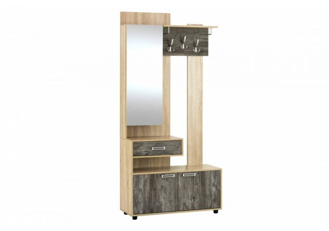 Набор мебели для прихожей «Визит 1» Вешалка (с зеркалом) Дуб Каньон / МДФ Серый