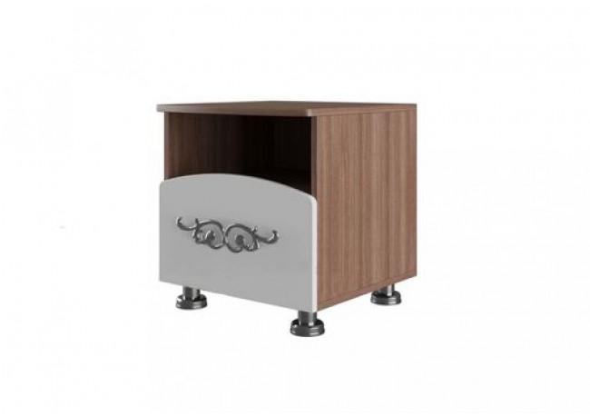 Набор мебели для спальни «Лагуна 7» Тумба прикроватная Ясень шимо темный/МДФ «Жемчуг»